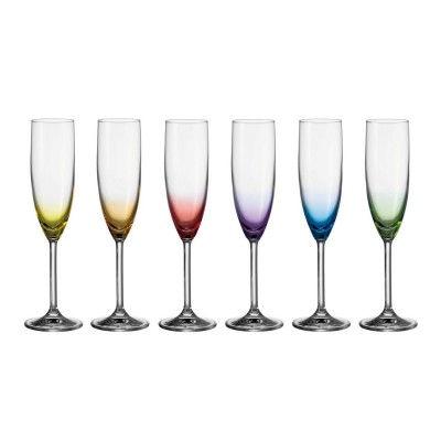 Leonardo-17769-6er-Set-Sektglas-Daily-Colours-farbige-Designer-Glaeser